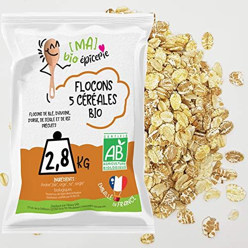 [Ma] bio-épicerie | Flocons 5 céréales BIO | 2,8 Kg | Sachet vrac | Certifié biologique | Idéal en mueslis, galettes, biscuits