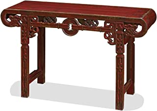 China Furniture Online Elmwood Console Table, Shang-Hai Altar Table Animal Motif Distressed Red Finish