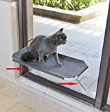LsaiFater All Around 360° Sunbath and Lower Support Safety Iron Cat Window Perch, Cat Hammock Window Seat for Any Cats (L, Grey)