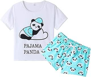 Women Short Sleeve Tee and Shorts Pajama Set Cute Cartoon Print Sleepwear