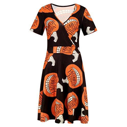 showsing-vrouwen kleding Womens nieuwe pompoen schedels vleermuizen afdrukken korte mouw V-hals halloween Swing jurk Vintage jurk partij jurk voor 8-16 UK