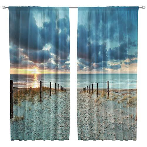 Riyidecor Ocean Beach Scenic Curtains Scenery Landscape Rod Pocket Art Hawaiian Tropical Sunset Seaside Blue Sky Sand Coastal Living Room Bedroom Window Drapes Treatment Fabric (2 Panels 42 x 63 Inch)