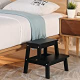 HOUCHICS Multi-Purpose Kids 2-Step Wood Step Stool with 260lb Load Capacity Wooden Bedside Step Stool Adults for Kitchen,Bathroom,Bedroom(Black)