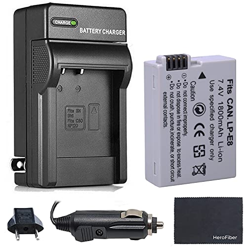 Xtech LP-E8 Battery and Charger for Canon Rebel T2i T3i T4i T5i EOS 550 600 650 700 Kiss X4 X5 X6i X7i DSLR and Digital Camera