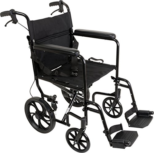 ProBasics Aluminum Transport Wheelchair With 19 Inch Seat - Foldable Wheel Chair For Transporting And Storage – 12-inch Rear Wheels For Smoother Ride, 300 LB Weight Capacity