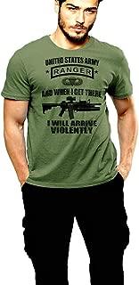 Army Ranger T-Shirt SUA Sponte US Flag 2 Sided Print Green Tee