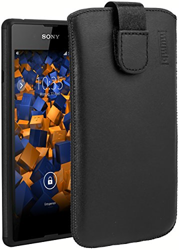 mumbi Echt Ledertasche kompatibel mit Sony Xperia E3 Hülle Leder Tasche Case Wallet, schwarz