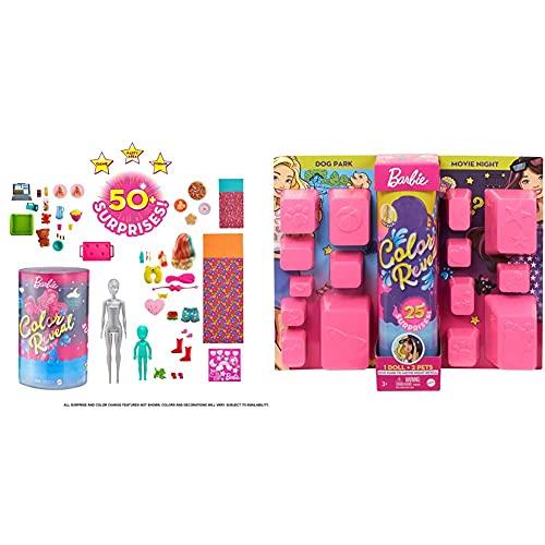 Barbie Color Reveal Caja Deluxe Fiesta De Pijamas Muñecas Y Accesorios Divertidos + Color Reveal del Parque Al Cine, Muñeca Que Revela Sus Colores con Agua, Incluye Ropa Y Accesorios (Mattel Gpd56)