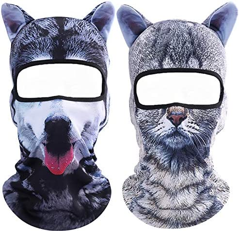 Koolip Cat Balaclava,Dog Balaclava,Halloween Hat,Cute Full Face Hood Mask Animal Ski Mask for Hiking Riding Sports Outdoor