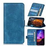 JARNING Prämie hülle für Motorola One Hyper,Ganzkörperschutz Hohe Qualität Hülle Cover Lederhülle mit Kartenfächer Ständer Magnetverschluss Schutzhülle (Blau)