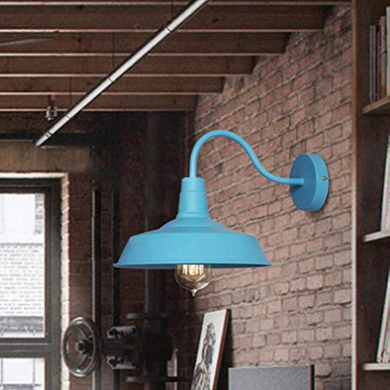 DEJ Vintage Wandleuchte Wandleuchte Hngelampe Deckenleuchte Pendent Lampe Metall E27 Kappe für Balkon Loft Barn Kitchen, Blau