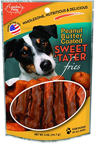 Carolina Prime Pet 45051 Peanut Butter Coated Sweet Tater Fries Treat For Dogs ( 1 Pouch), One Size