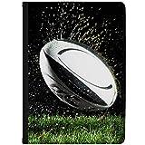 Azzumo Étui en similicuir pour tablette Samsung Motif ballon de rugby