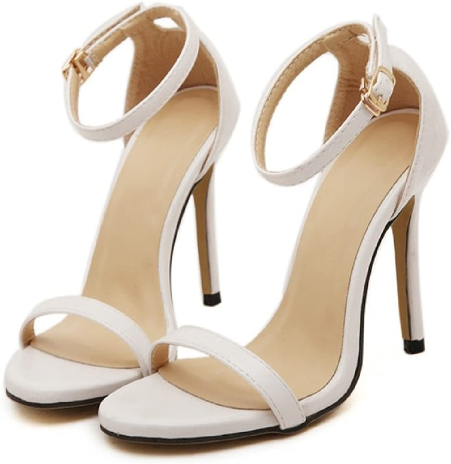 Ladies Fine Superb High Heel-Fashion Hollow Fish Mouth Sandals-Pure color Toe Pierced One Word Buckle Belt shoes-Comfort Heel Sandals Zhhzz