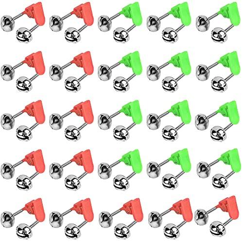 Caña De Pescar Campana Anti-caída Polo Mordedura De Alarma Sonido Fuerte Caña De Pescar De Alarma con Clip Plástico Estilo Y Dual del Metal De Alerta Campanas para Las Barras De 100pcs
