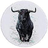GermYan Toalla Redonda de Vaca de Leche Toalla de Playa Redonda Grande Colorida Tapiz de Pintura en Colores Pastel Juego de Animales 150Cm