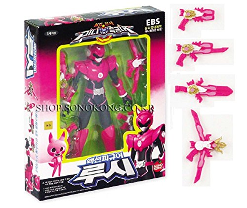 MINI FORCE Miniforce Lucy Korean Robot Action Figure Pink 5.5' Mountable 4 Weapons 14 Joints Move (Single Product)
