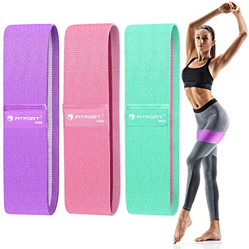 FITFORT Resistance Bands for Legs and Butt Exercise Bands - Non Slip Elastic Booty Bands, 3 Levels Workout Bands Women Sports Fitness Band for Squat Glute Hip Training