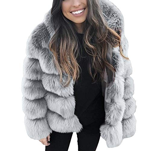LEXUPE Women Autumn Winter Warm Comfortable Coat Casual Fashion Jacket Faux Mink Winter Hooded New Faux Fur Jacket Thick Outerwear Jacket Gray