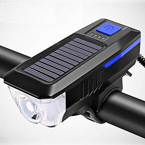 N-B Carga solar bicicleta light3 modos l e d carretera bicicleta montaña luz delantera impermeable bicicleta campana luz U S B recargable faro