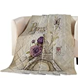 Thin Comforter Bedspread Throw Blanket Paris Themed Eiffel Tower Lightweight Reversible Bedding Quilt Vintage Brown Quilted Coverlet for Couch Sofa Living Room 96x104 inch (California King)