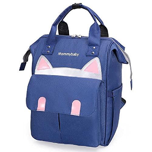 Mochila multifuncional con diseño de oso de dibujos animados de gran capacidad para maternidad y bebé, 25 x 24 x 40 cm, color azul