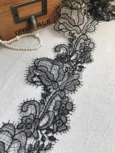 Encaje de Venecia negro y blanco, encaje de hoja de rosa, borde de encaje de pestañas