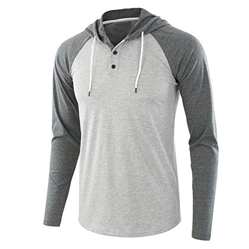 XLDD Men's Casual Regular Fit Raglan Long Sleeve Baseball Henley T-Shirts Sweatshirt Lightweight Pullover Hoodies Casual Henley Button up Tops Fashionable Jumper Sportshirt M Gray