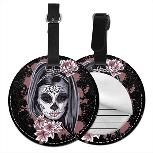 Luggage Tags Halloween Candy Sugar Skull Girl 4 Suitcase Luggage Tags Business Card Holder Travel ID Bag Tag