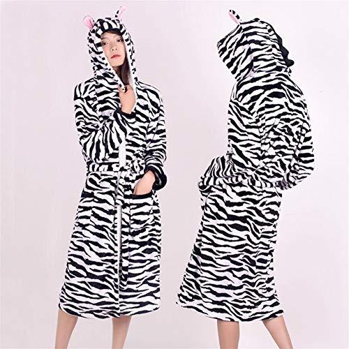 Erwachsene Tier Flanell Bademantel Nachtwäsche Frauen Männer Bademantel Nachthemd Dicke Warme Robe Winter Unisex Panda Einhorn Plüsch Pyjama Schlafanzüge (Color : Zebra, Size : S)