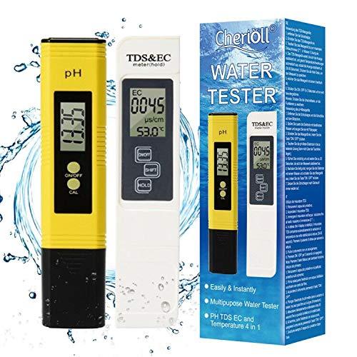 PH Mètre, Misuratore pH,pH Tester, Testeur ph ec Piscine PH TDS&EC température 4 en 1 Set (ATC) per Acqua Potabile/Piscina/Acquario/Piscina