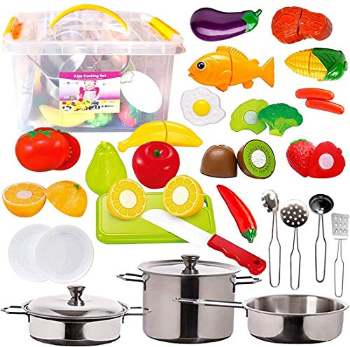 Price comparison product image FUNERICA 45-Pieces Kitchen Pretend Play Food Toys with Stainless Steel Pots & Pans,  Cooking Utensils,  Storage Bin,  Knife,  Cutting Board,  Cutting Vegetables,  Meat & Fish for Kids,  Girls,  Boys,  Toddlers