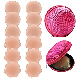 6 Pairs Silicone Nipple Covers,Rifny Women's Reusable Adhesive Invisible Pasties Nippleless Covers & Travel Case (3 Round+3 Flower)