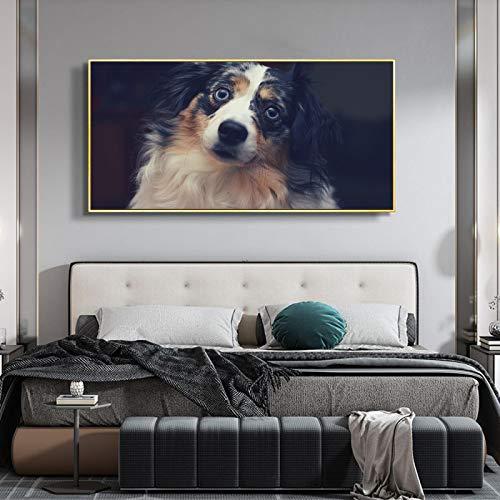Moderno divertido lindo animal pintura mascota perro pelo largo bebé perro lienzo pintura sala pasillo decoración del hogar mural-60x120cm sin marco