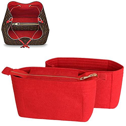 SHINGONE Taschenorganizer Filz Handtaschen Organizer mit Reißverschluss für LV, Innentaschen für Handtaschen Bag Organizer Fit in LV Neonoe, Taschenorganizer Rot