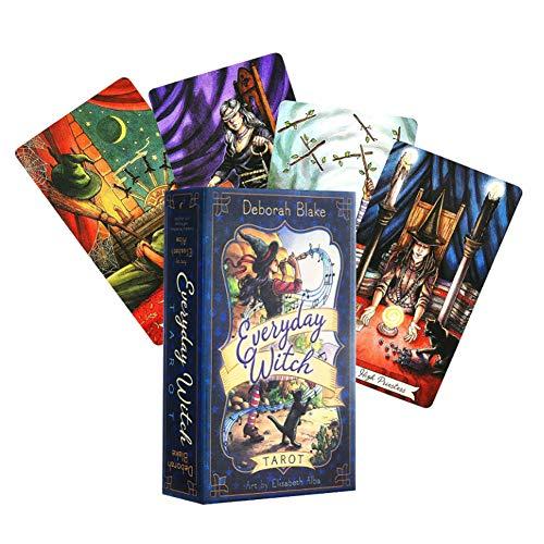 M-GLT 2020 New Everyday Witch Tarot 78 Karten Deck Fate Divination Partei Brettspiel-Spielkarte Englische Version (Mit Reiseführer)