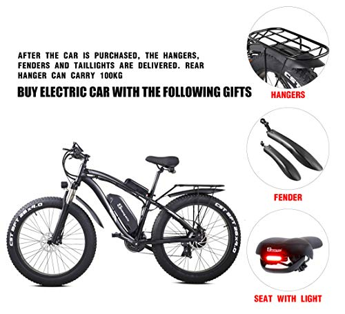 Shengmilo MX02S 48V 1000W Electric Bike Electric Mountain Bike 26inch Fat Tire e-Bike S-h-i-m-a-n-o 21 Speeds Beach Cruiser Mens Sports Mountain Bike Lithium Battery Hydraulic Disc Brakes