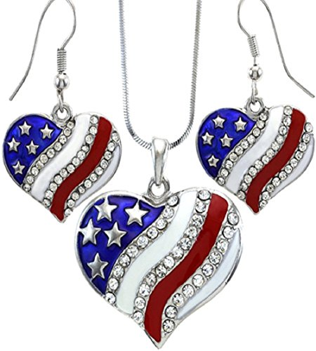USA American Flag Heart Patriotic 4th of July Independence Day Pendant Necklace & Earrings Set
