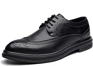 CAIFENG Oxford Casual Moda Moda Estilo británico cómodo bajo Zapatos de Brogue (Color : Black, Size : 41 EU)