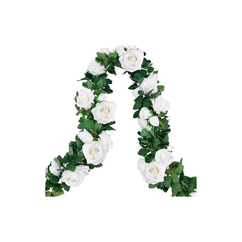 silk flower arrangements cewor 4pcs 26.2ft artificial rose garlands fake silk white rose flowers hanging vines for wedding party home wall garden hotel outdoor decor