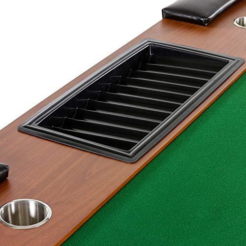 Maxstore Pokertisch ROYAL Flush, 213 x 106 x75 cm, Farbwahl, Gewicht 58kg, 9 Getränkehalter, gepolsterte Armauflage - 4