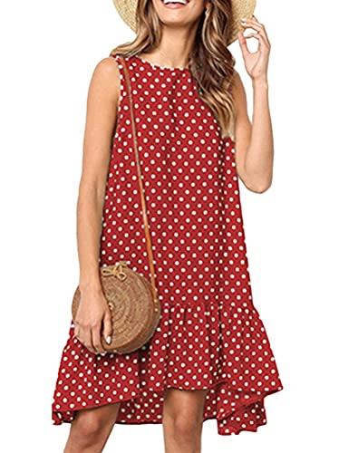 Onsoyours Vestido Casual de Verano Corto para Mujer Vestido sin Mangas Playa Escote Redondo para Mujer Polka Dot Vestidos