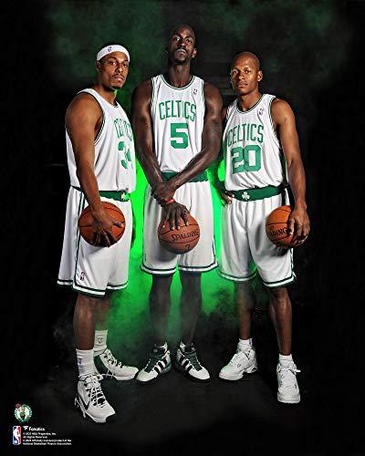 Kevin Garnett, Paul Pierce and Ray Allen Boston Celtics Unsigned White Jersey Photograph - Original NBA Art and Prints