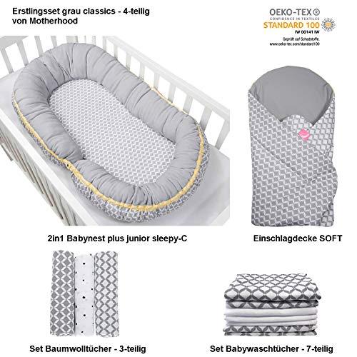 Erstlingsset Motherhood Geschenk zur Geburt, Öko-Tex Standard - bestehend aus: Stillkissen/Babynest + Einschlagdecke SOFT + Set Baumwolltücher (3-teilig) + Set Wachtücher (7-teilig) (grau classics)