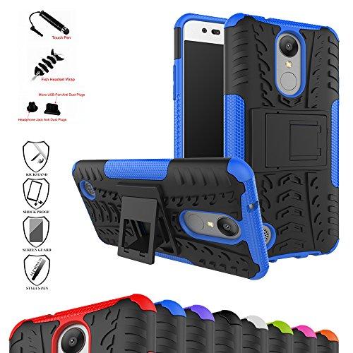 MAMA MOUTH LG k8 2017 Funda, Heavy Duty Silicona híbrida con Soporte Cáscara de Cubierta Protectora de Doble Capa Funda Caso para LG k8 2017 Smartphone,Azul