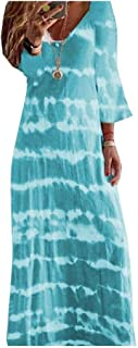 Coolred Womens Plus Size V Neck Half Sleeve Baggy Floral Spring Long Gown