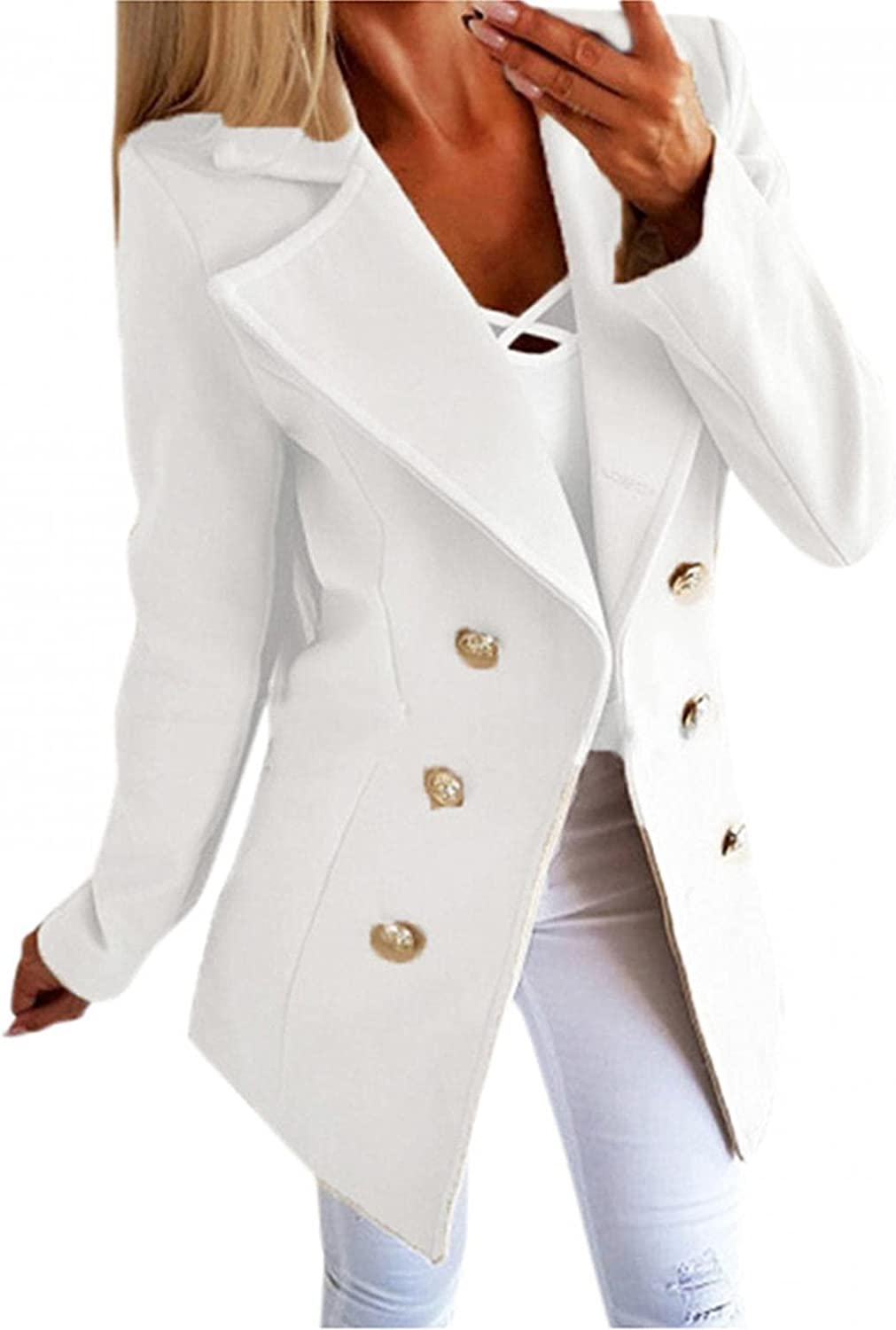 LEIYAN Womens Double-Breasted Trench Coat Long Sleeve Lapel Collar Casual Open Front Cardigan Jacket Coat Tunic Outerwear