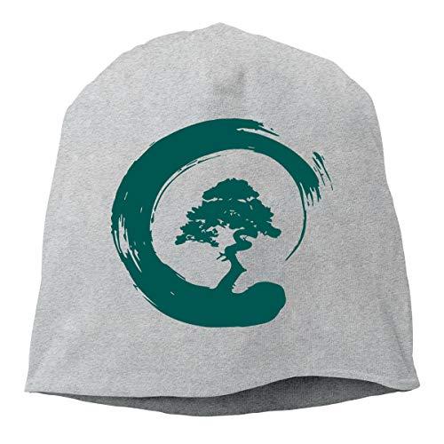 Men's and Women's Daily Knitted Caps, Bonsai Tree Skull Cap for Mens & Womens Gray