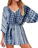 VONDA Jumpsuits Shorts Damen Pyjama Langarm Strampler Playsuit Urlaub Zuhause Freizeit Nachtwäsche Hose Hose mit Gürtel Gr. XX-Large, Navy