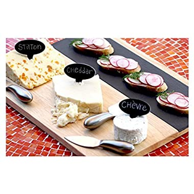 Large Modular Slate and Wood Cheese Board Set with Stainless Steel Knives, Cheese Markers, Soapstone Chalk, and Serving Guide--2 Versatile Serving Trays, Perfect for Appetizers, Desserts, Charcuterie